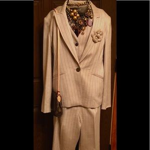 3 piece tan and brown pin stripe suite
